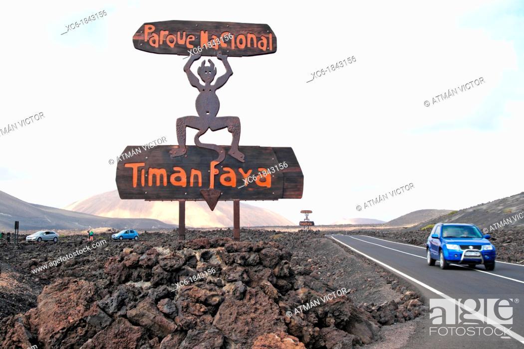 Stock Photo: Signpost access Timanfaya Natural Park Lanzarote.