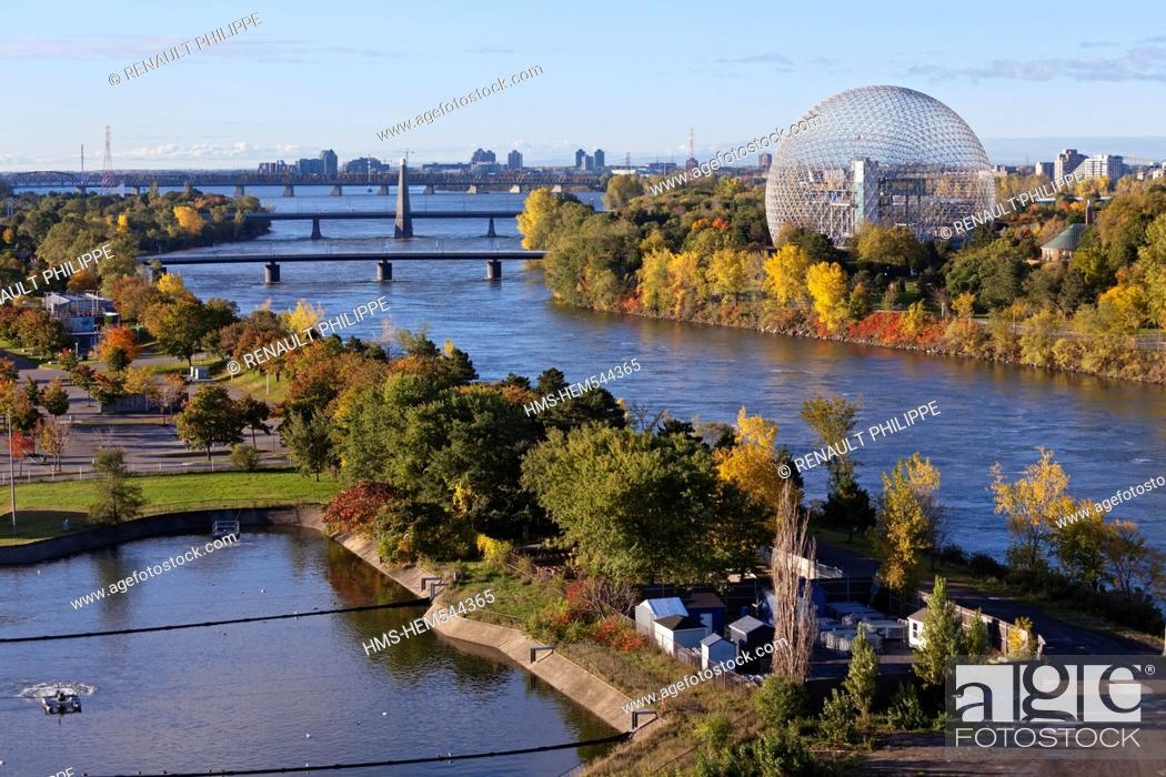 Stock Photo: Canada, Quebec Province, Montreal, Ile Notre Dame and Ile Sainte Helene each side of the St. Lawrence River, the Biosphere, the vegetation in the Autumn colors.