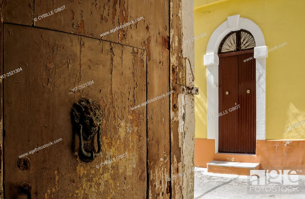 Stock Photo: House door in the old town of Gallipoli, Puglia, Italy.