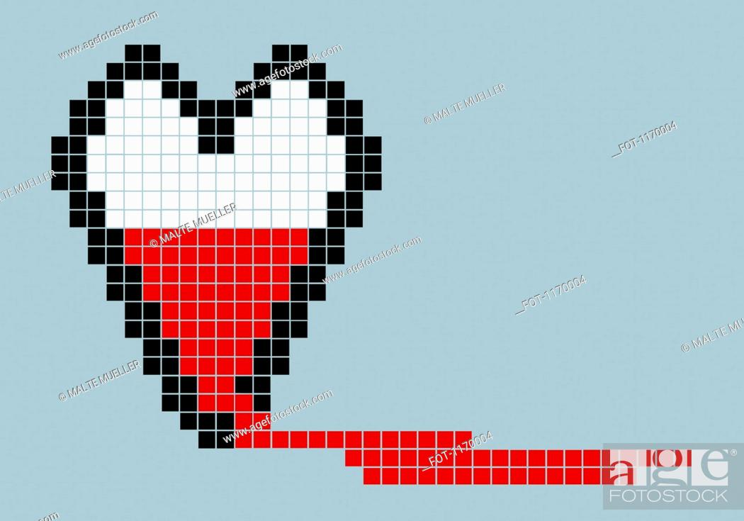 Stock Photo: 8-bit style bleeding heart.