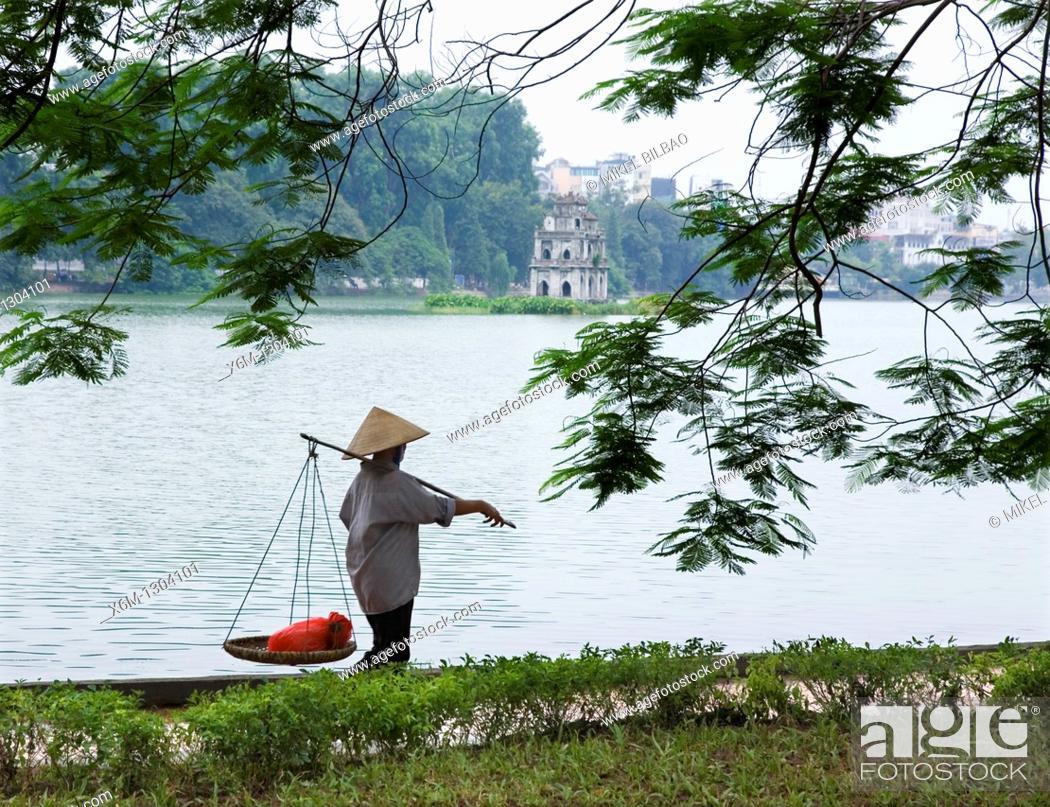 Stock Photo: Turtle tower in Hoan Kiem Lake  Hanoi, Vietnam.