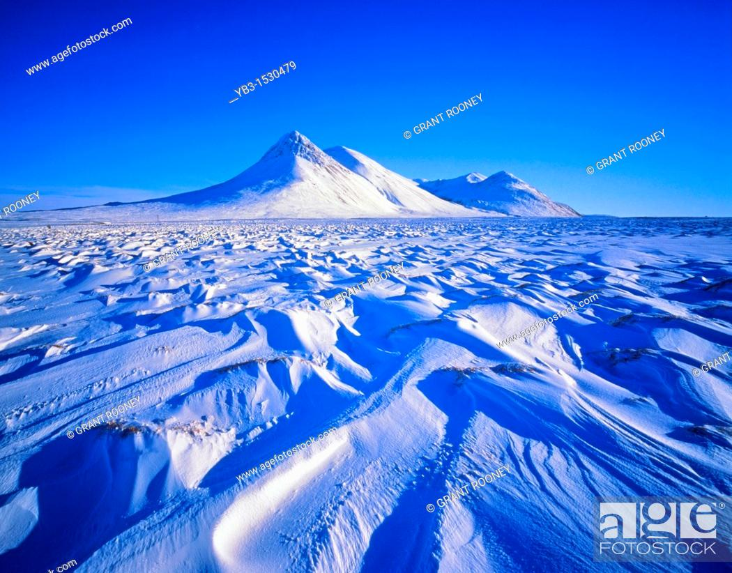Stock Photo: Winter Landscape, Northern Iceland.