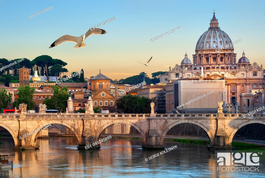 Stock Photo: Birds flying over Tiber river near Vatican and bridge of Vittorio Emanuele II, Italy.