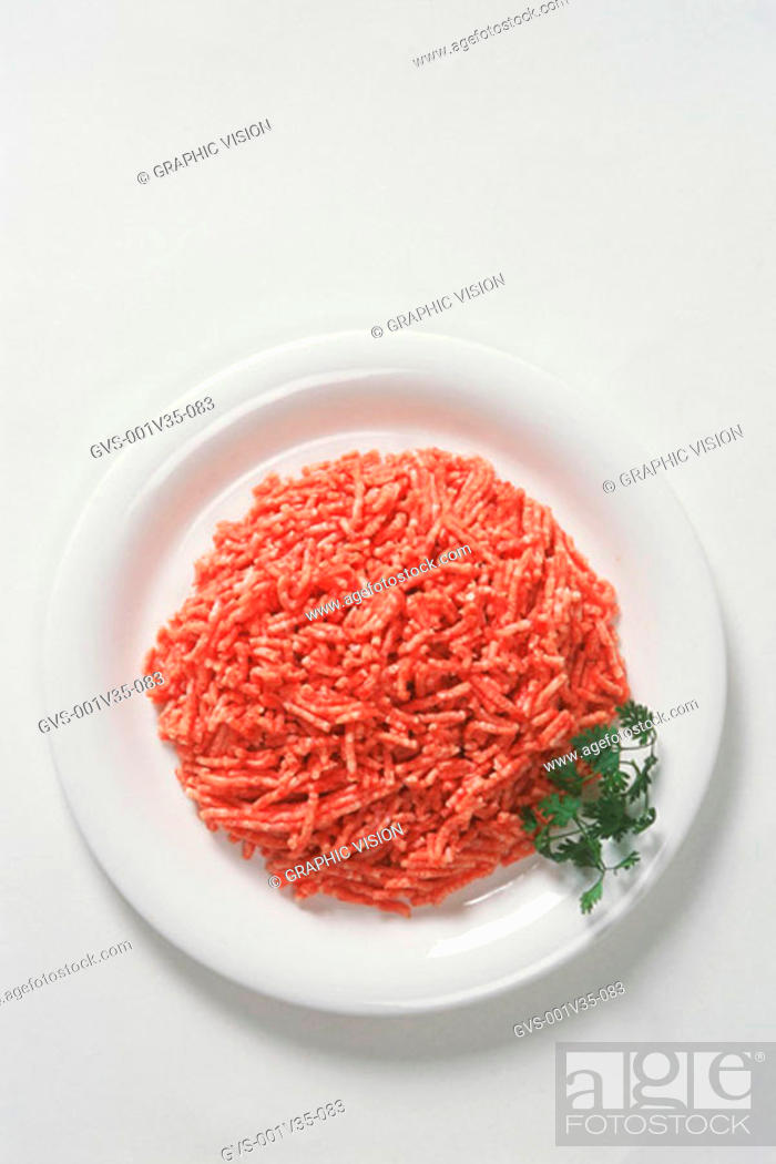 Stock Photo: Plate of Uncooked Ground Beef.