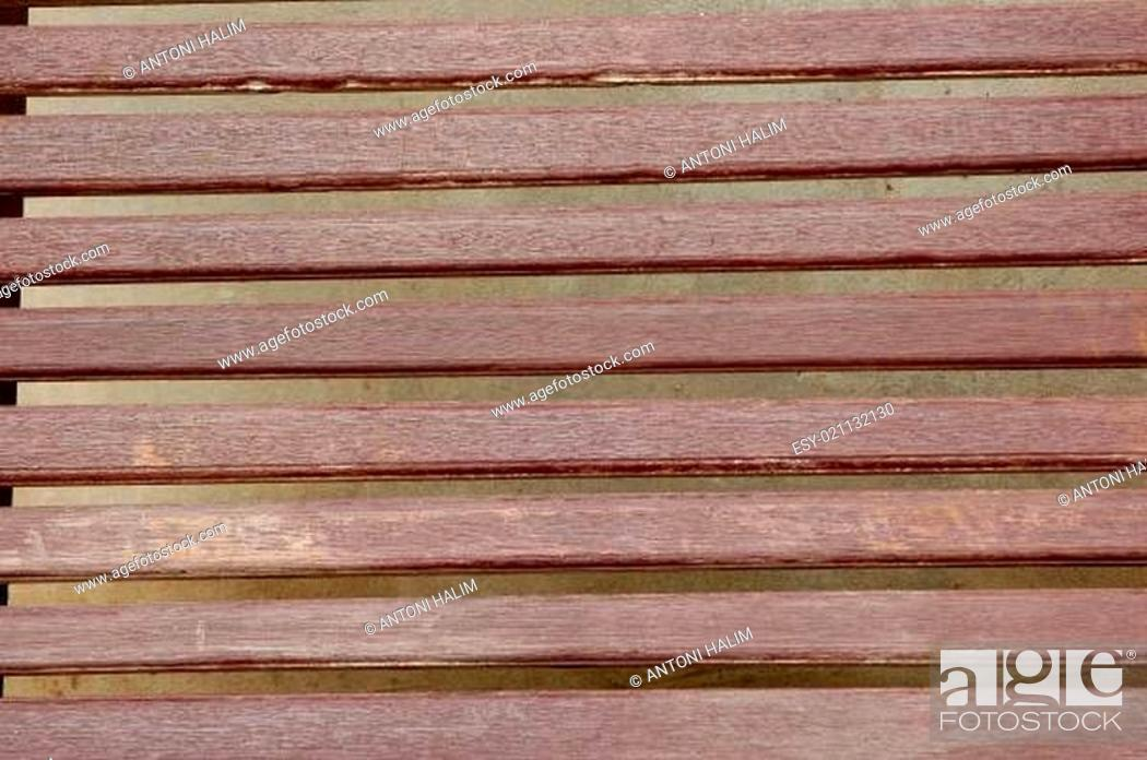 Stock Photo: texture of brown wooden bench.