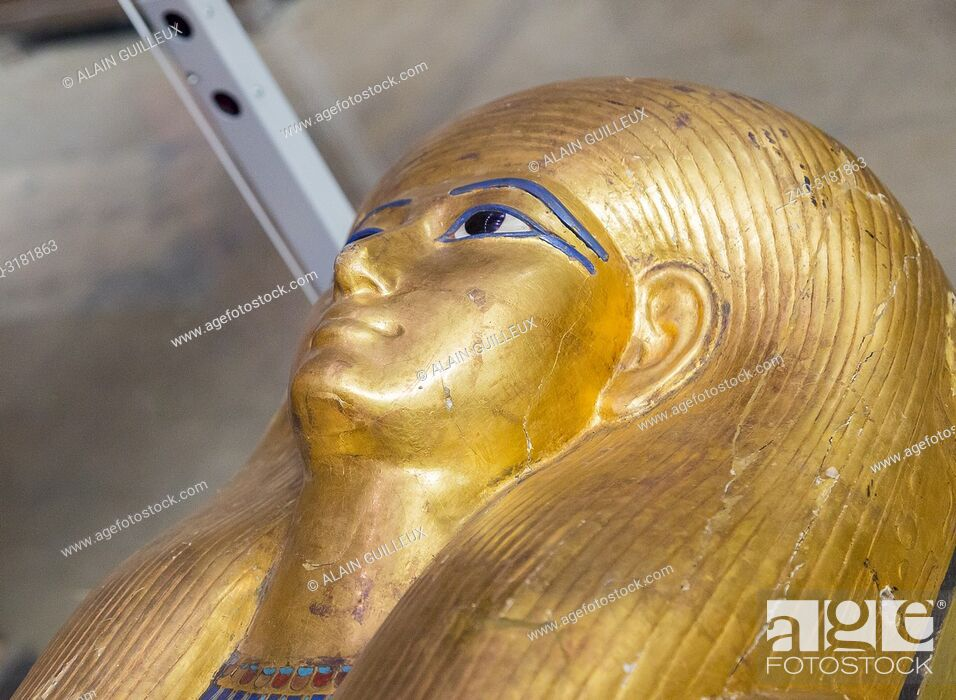 Stock Photo: Egypt, Cairo, Egyptian Museum, from the tomb of Yuya and Thuya in Luxor : Head of the mummy-shaped inner coffin of Yuya.