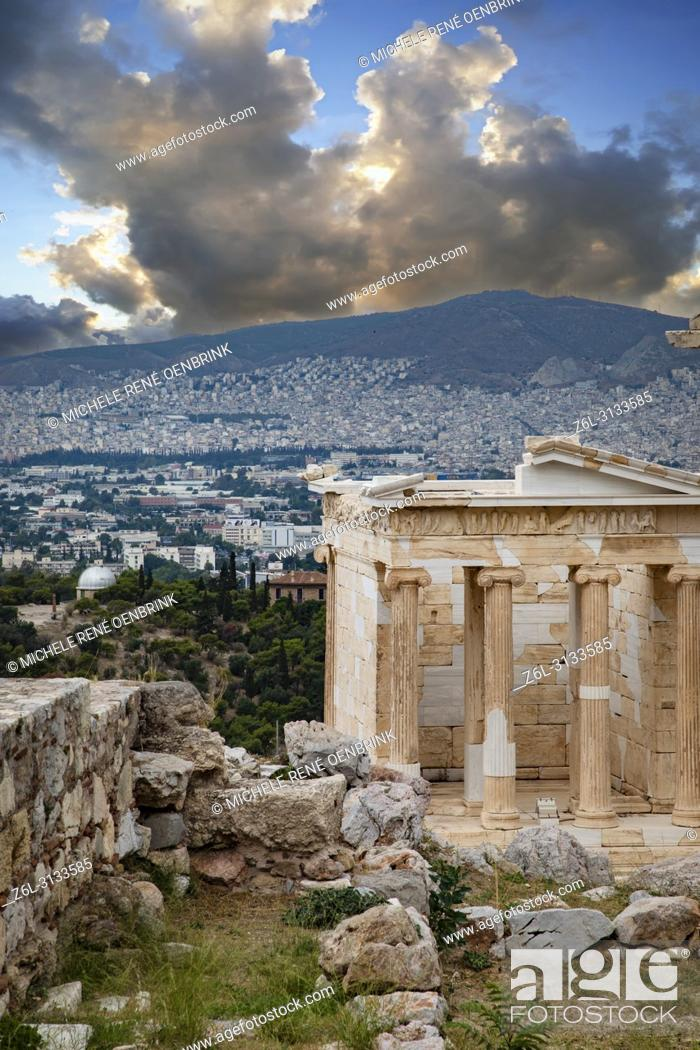 Stock Photo: Erechtheion ancient Greek temple on the north side of the Acropolis Athens Greece.