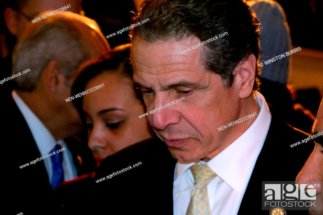 Stock Photo: Andrew Cuomo announces minimum wage will be raised to 11.50 an hour at the 2015 Opportunity Agenda at The Malcolm X and Dr.