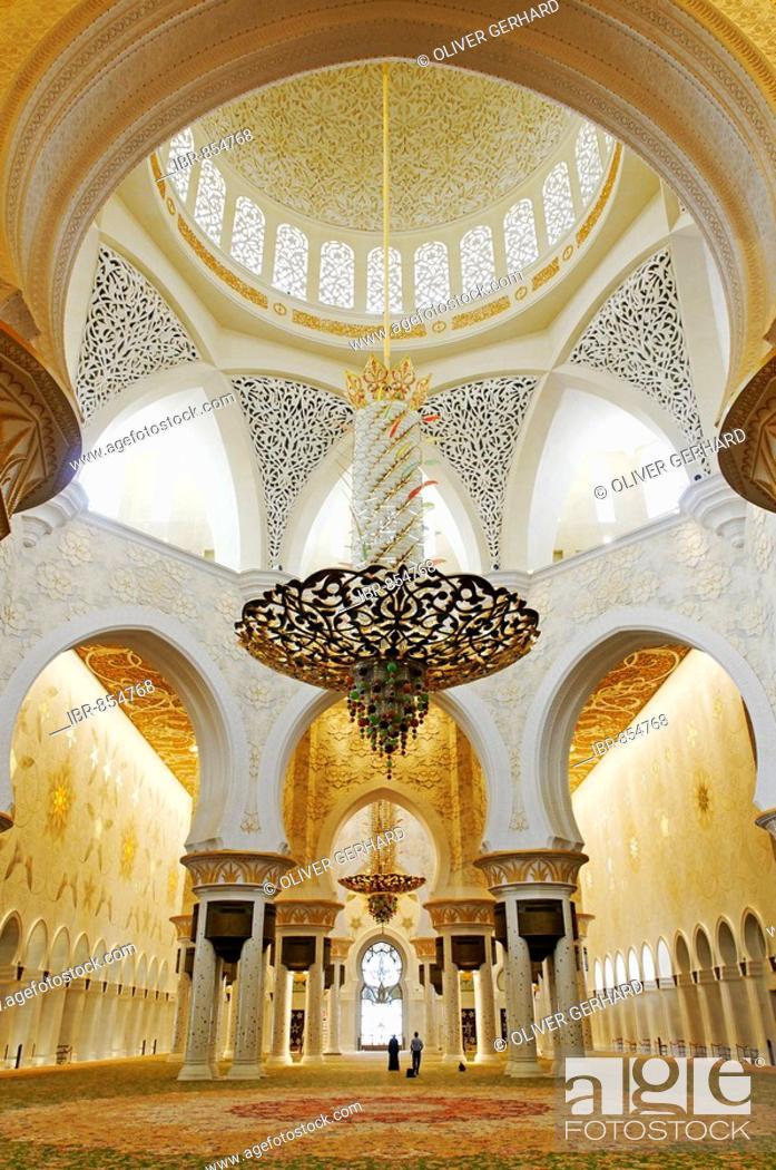 Stock Photo: Pray room of Sheikh Zayed bin Sultan Al Nahjan Mosque, Grand Mosque, third biggest mosque in the world, Emirat Abu Dhabi, United Arab Emirates, Asia.