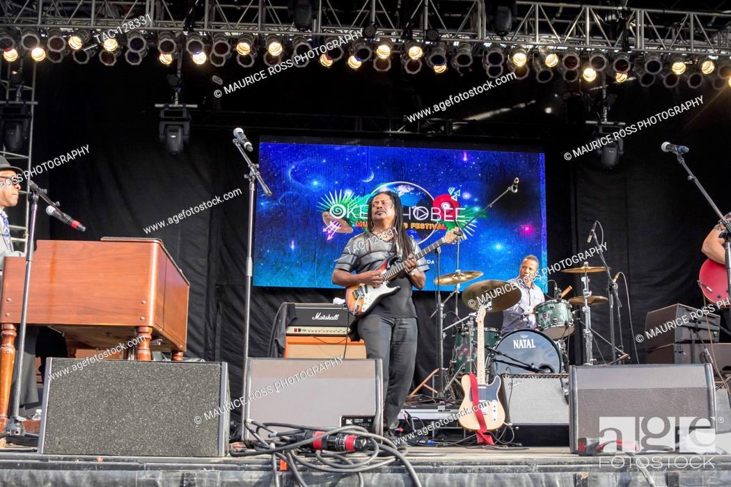 "Stock Photo: Vernon """"Ice"""" Black of Booker T Jones Band at the Okeechobee Music and Arts Festival on March 3, 2016 in Okeechobee Florida."