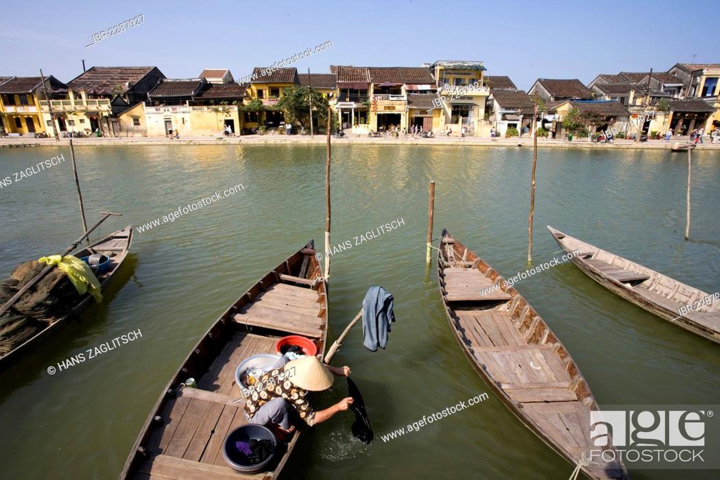 Stock Photo: Promenade, boulevard along the Hoi An River, Vietnam, Southeast Asia, Asia.
