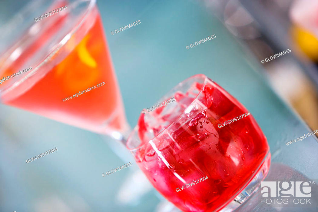 Stock Photo: Close-up of a glass of martini and a glass of red wine.