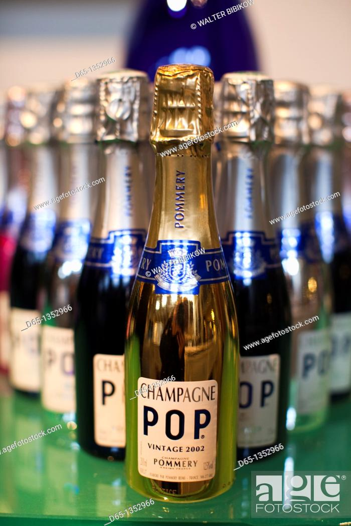 Stock Photo: France, Marne, Champagne Ardenne, Reims, Pommery champagne winery,detail of champagne bottle.