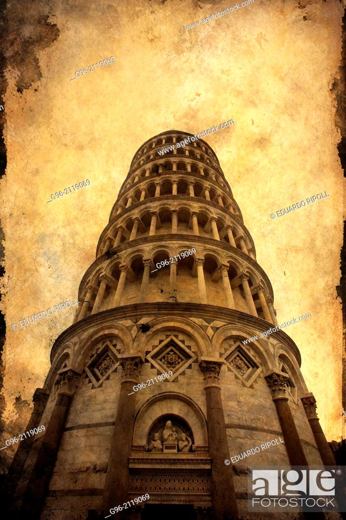 Stock Photo: Leaning Tower Of Pisa, Piazza Dei Miracoli, Pisa, Tuscany, Italy.