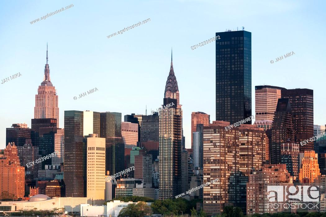 Stock Photo: New York City Manhattan Midtown cityscape with cloudless clear sky during sunny spring day in NYC, USA.