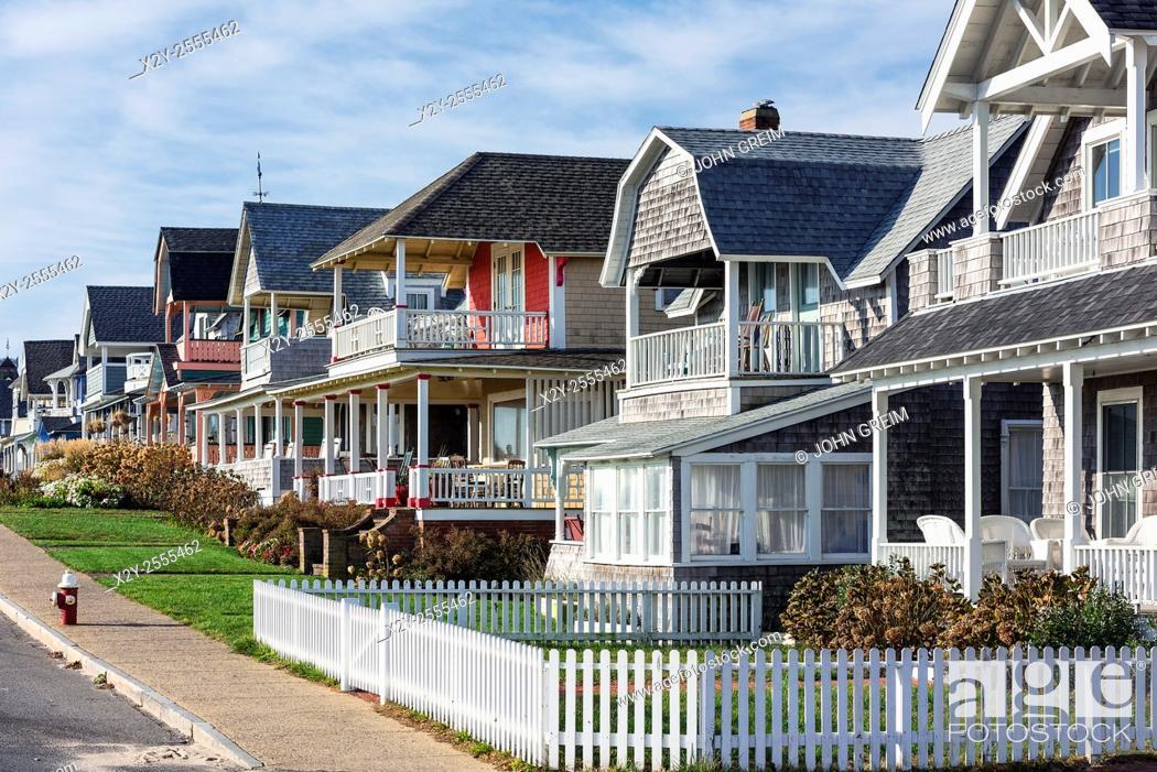 Stock Photo: Charming cottage houses along Ocean Park, Oak Bluffs, Martha's Vineyard, USA.