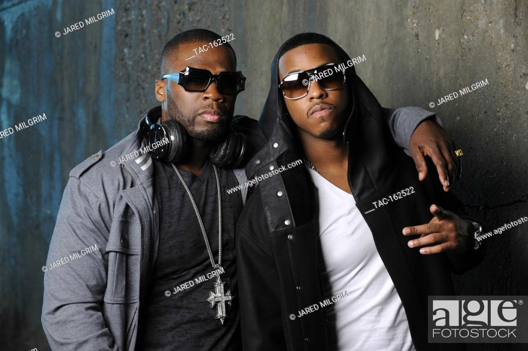 L-R) 50 Cent and Jeremih portrait on-set at the Jeremih