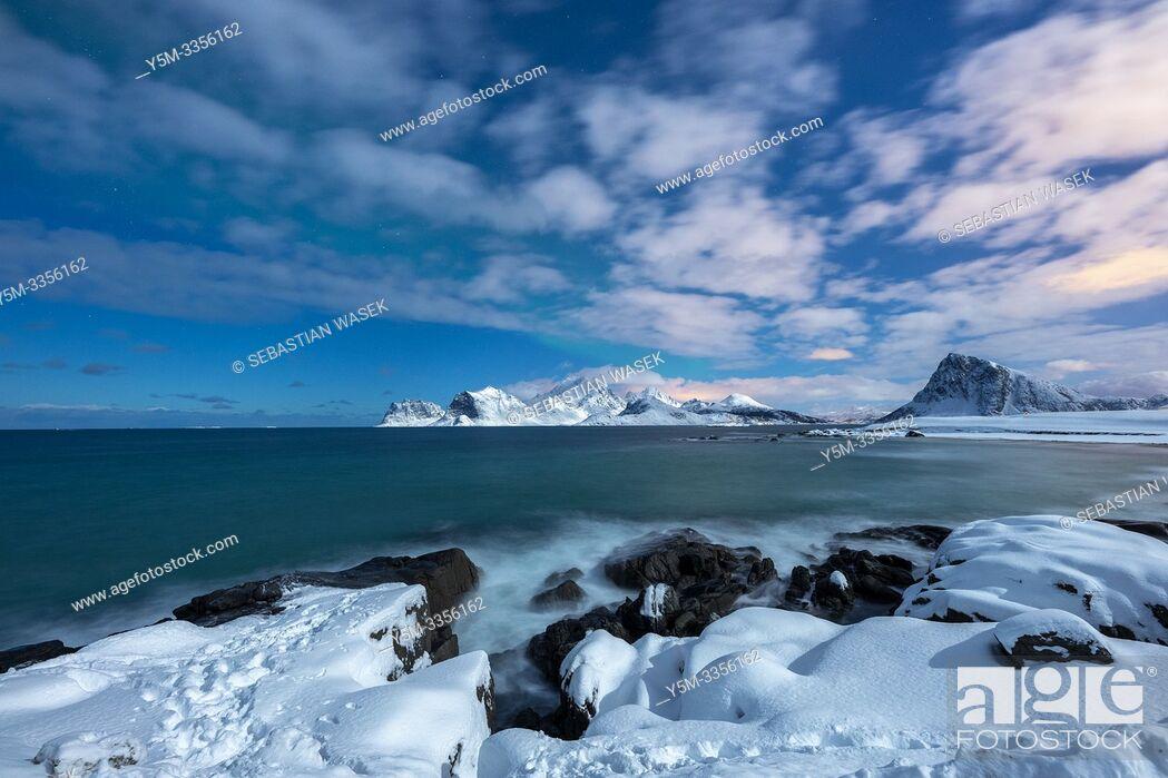 Stock Photo: Storsandnes Beach in Moonlight, Myrland, Leknes, Lofoten, Norway, Europe.