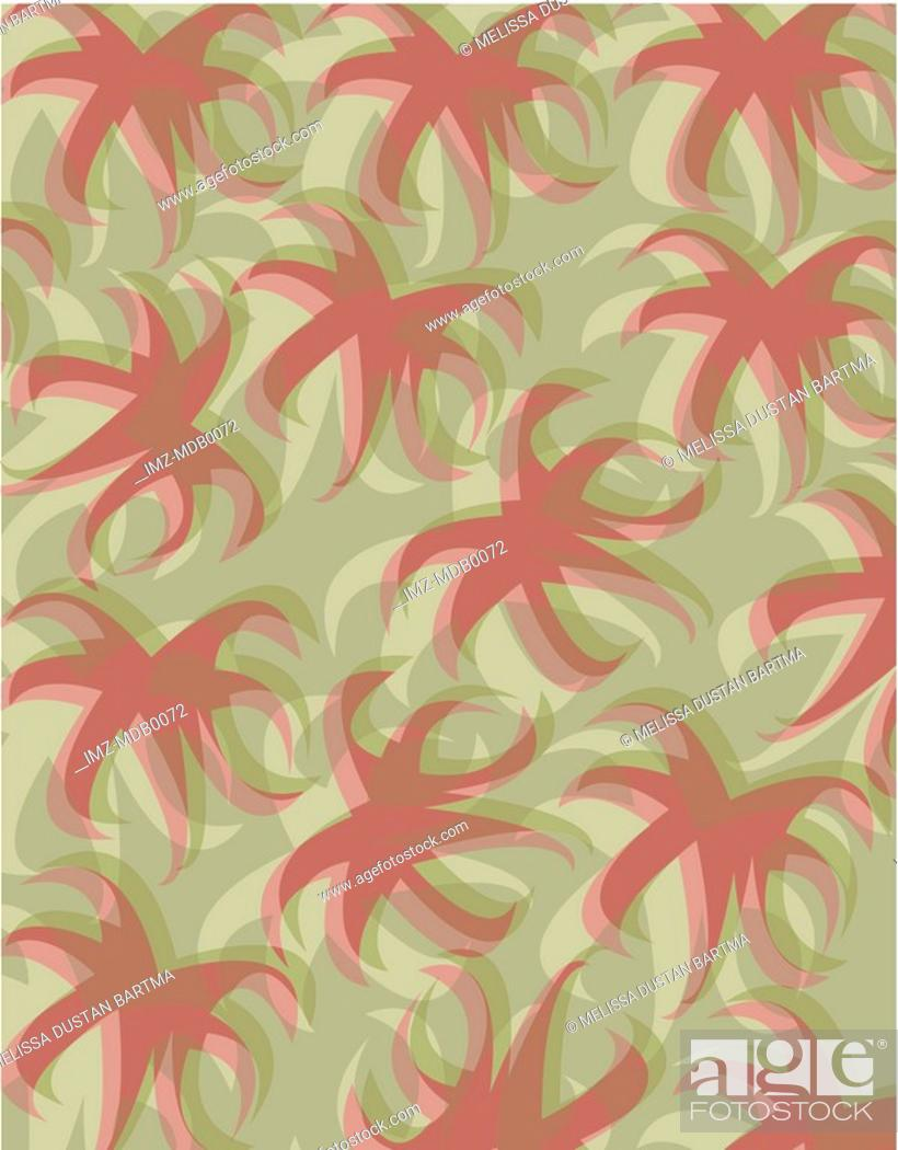 Stock Photo: A green and brown palm tree top pattern.