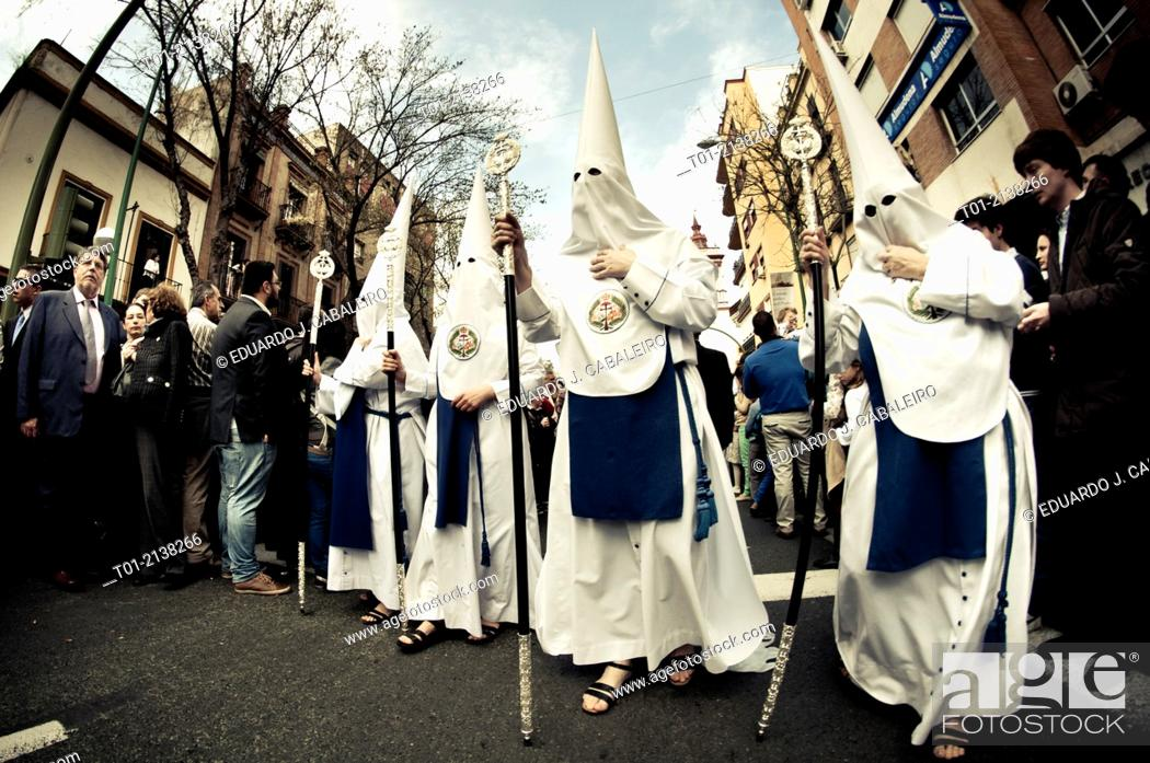 Stock Photo: Nazarenes in the Holy Week in Seville.