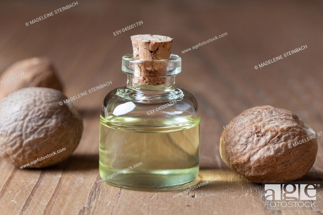 Stock Photo: A bottle of nutmeg essential oil.