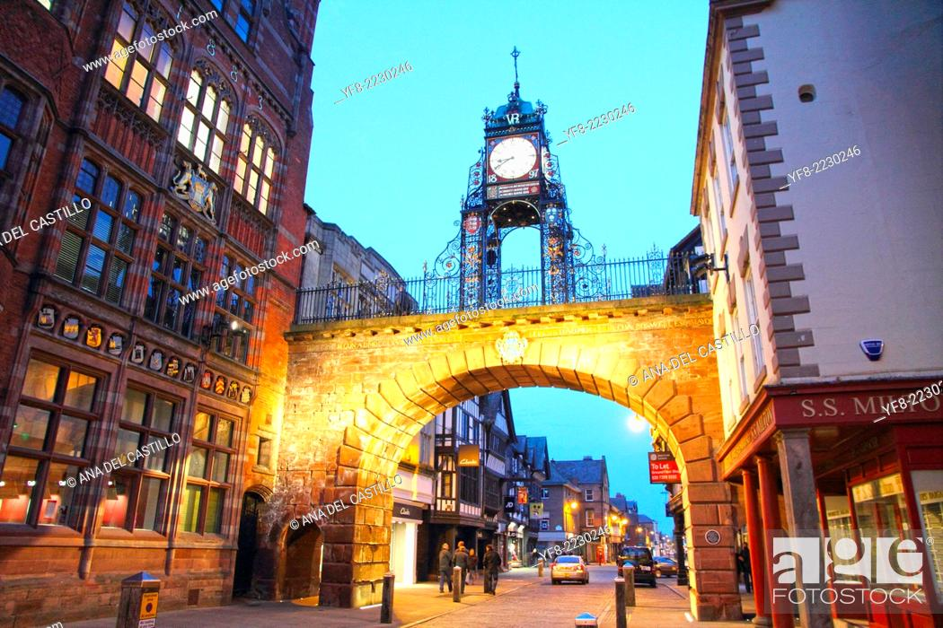 Stock Photo: Eastgate clock and Tudor buildings Chester Cheshire England UK.