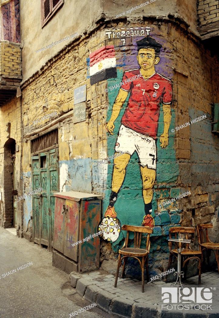 Imagen: Street art of Egypt footballer Trezeguet in Islamic Cairo in the city of Cairo in Egypt in North Africa.