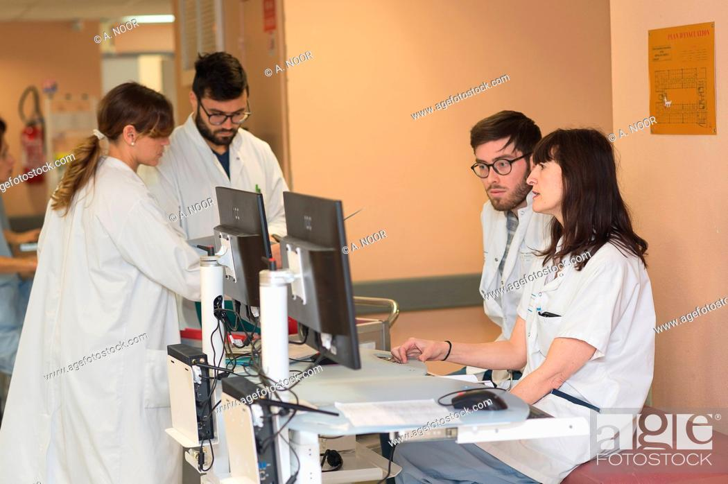 Stock Photo: Reportage in the hepatology service of Archet Hospital, Nice, France. The continuous technical care sector that deals with the most serious cases.