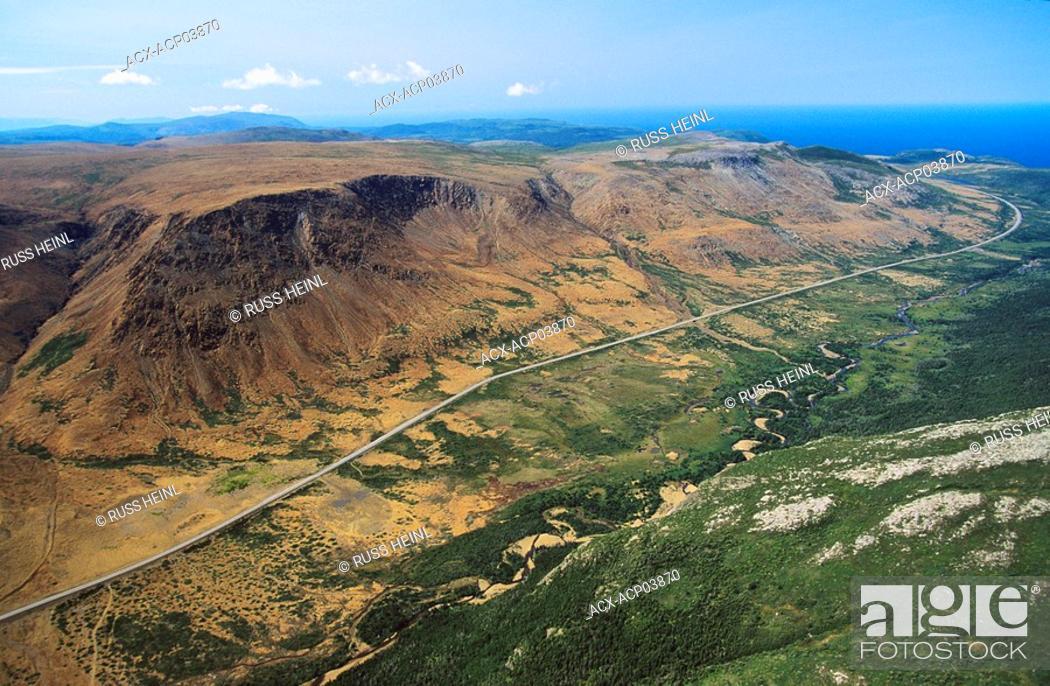 Stock Photo: aerial of tablelands, Gros Morne National Park, newfoundland, Canada.