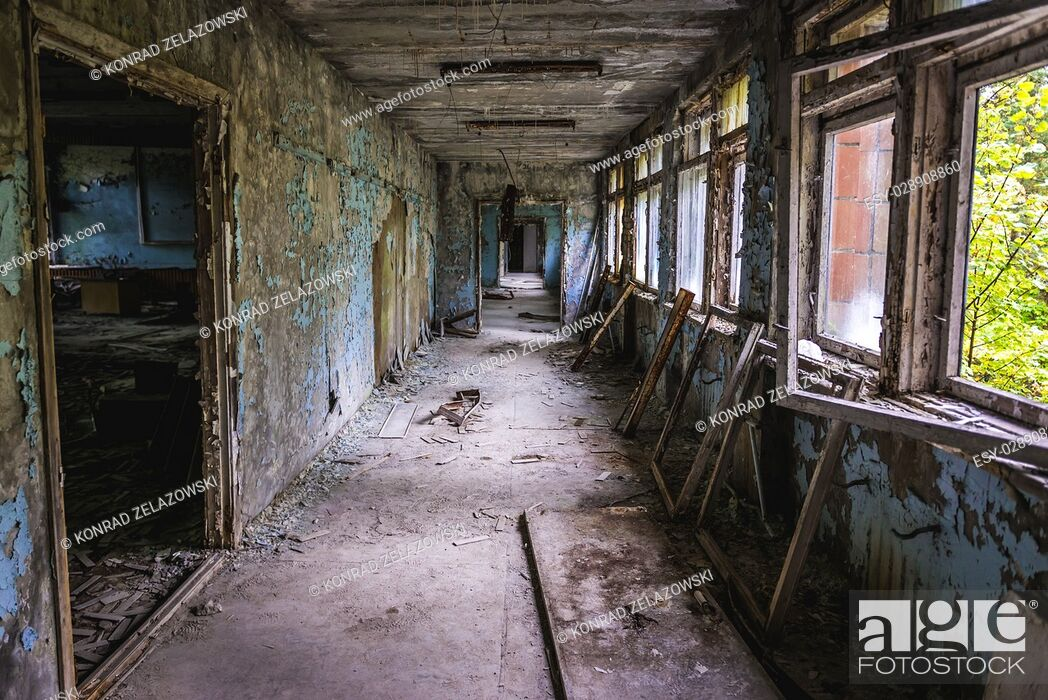 Stock Photo: Corridor in High school No 3 in Pripyat ghost city of Chernobyl Nuclear Power Plant Zone of Alienation around nuclear reactor disaster in Ukraine.