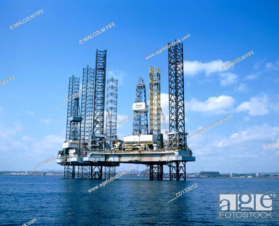 Stock Photo: Jack-up oil rigs. Firth of Forth. Scotland.