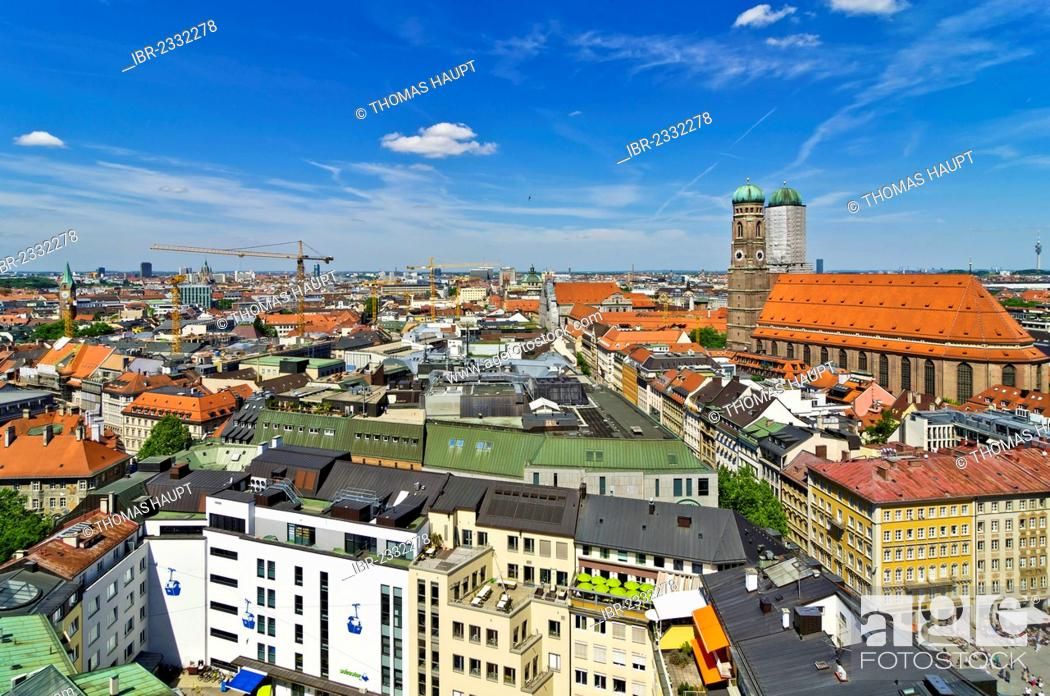 Stock Photo: View from St. Peter's Church, Alter Peter, over the roofs with Frauenkirche, Church of Our Lady, Munich, Upper Bavaria, Bavaria, Germany, Europe.