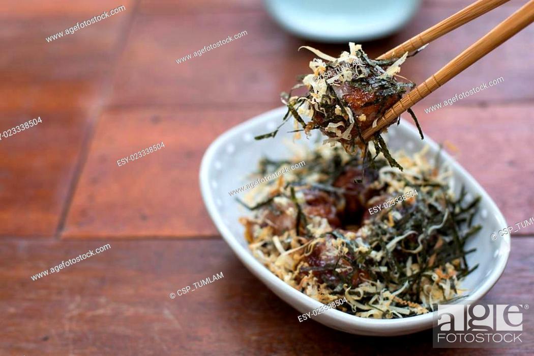 Stock Photo: Takoyaki, delicious Japanese style octopus pancake - Selective f.