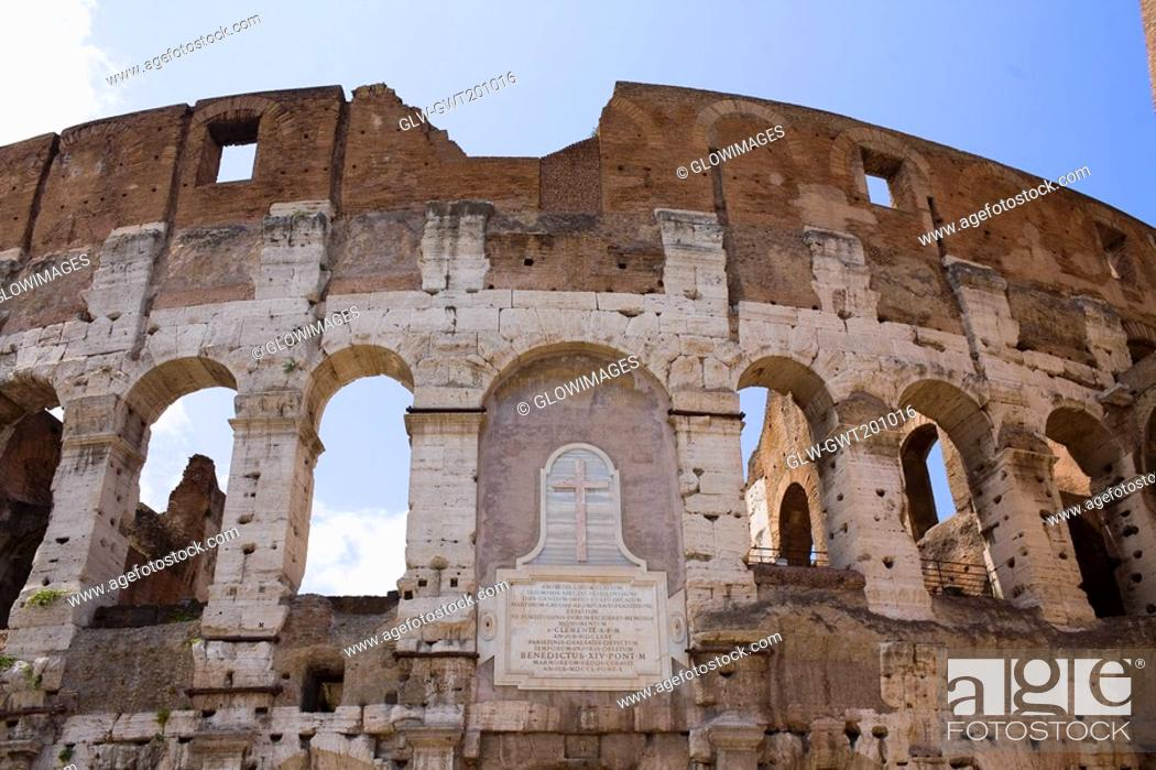 Stock Photo: Old ruins of an amphitheater, Coliseum, Rome, Italy.