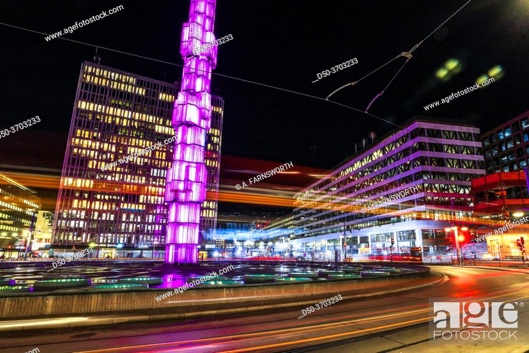 Stock Photo: Stockholm, Sweden Oct 30, 2020 Sergels Torg in the center of town at night with traffic streeks.