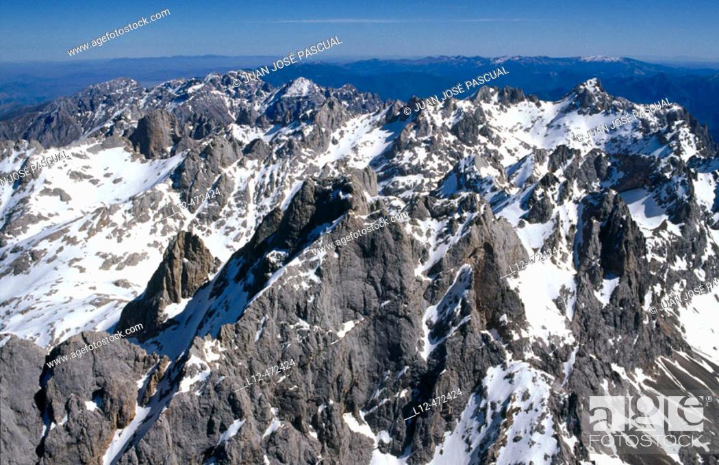 Stock Photo: Aerial view on Picos de Europa. Cantabria, Spain.