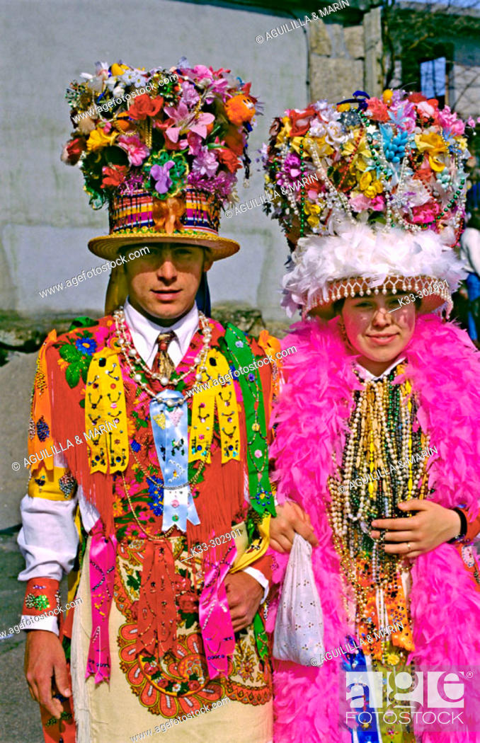 Stock Photo: Madamas and Galanes at Carnival. Cobres. Pontevedra province. Galicia. Spain.