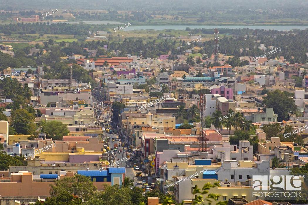 Stock Photo: Aerial view of Tiruvanamalai, Tamilnadu, India.