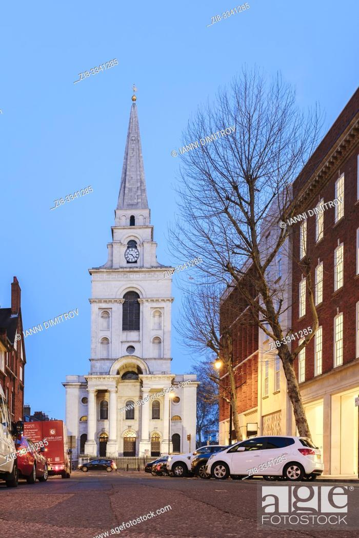 Stock Photo: Christ Church Spitalfields from Brushfield street, East End, London, UK.