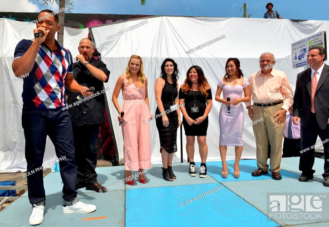 Stock Photo: 'Suicide Squad' Wynwood Block Party and Mural Reveal in Miami, Florida Featuring: Will Smith, David Ayer, Margot Robbie, Amanda Valdes, Didirok, Karen Fukuhara.