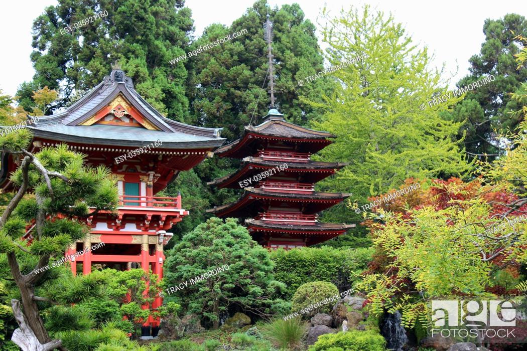 Stock Photo: Japanese pagodas in a landscaped Japanese garden in California, USA.