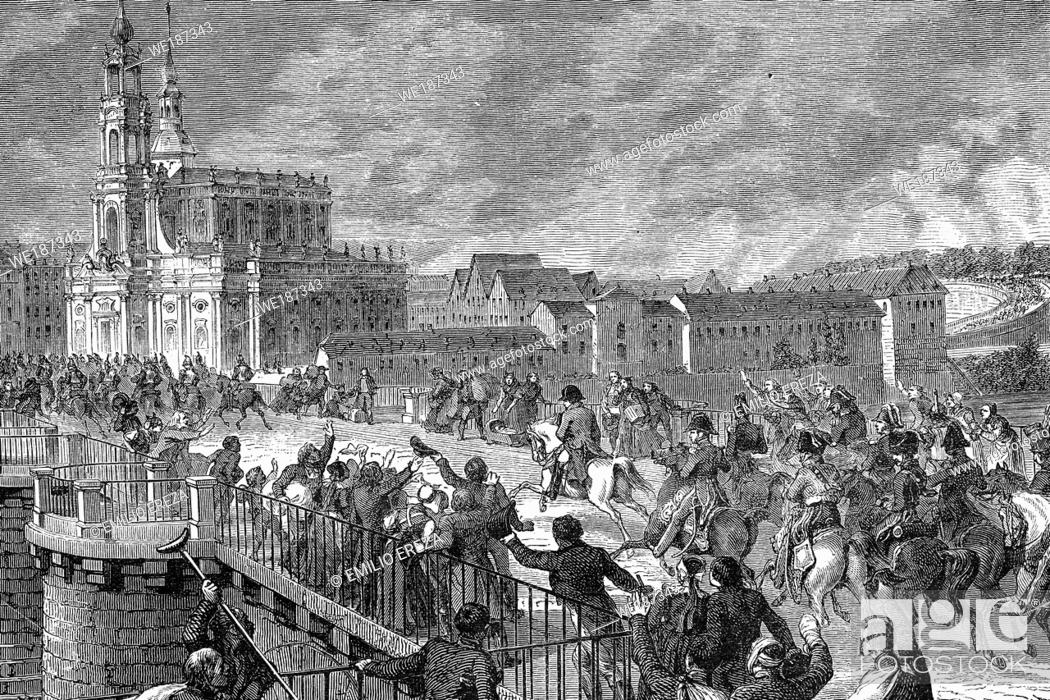 Stock Photo: Arrival of Napoleon to Dresden. The first battle. 26th-27th August 1813. Antique illustration. 1890.