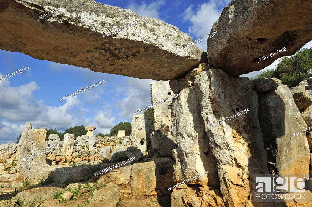 Stock Photo: South section of Torre d'en Galmes a Talayotic site on the island of Menorca, Balearic Islands, Spain, Europe.