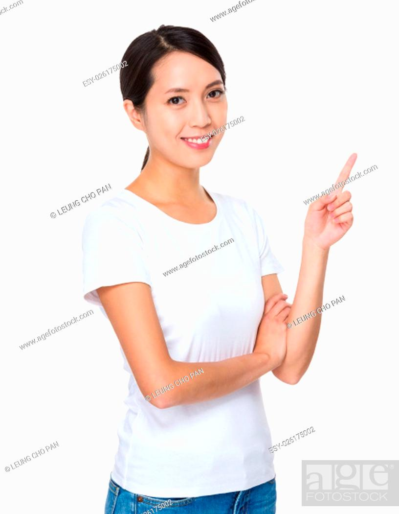 Imagen: Asian woman with finger point up.