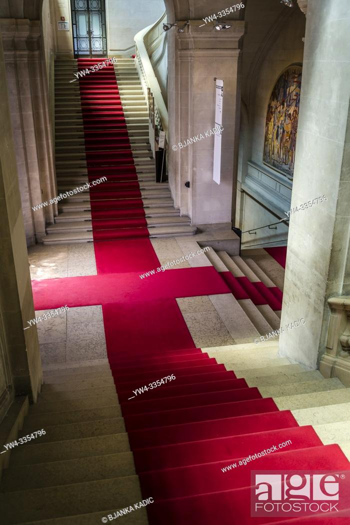 Stock Photo: Interior with elegant stairs and red carpet, Art and history museum, the largest museum in the city, Geneva, Switzerland.