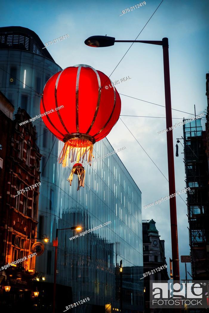 Stock Photo: Closeup of chinese red lantern at sunset in China Town, Soho, London, England, UK, Europe.