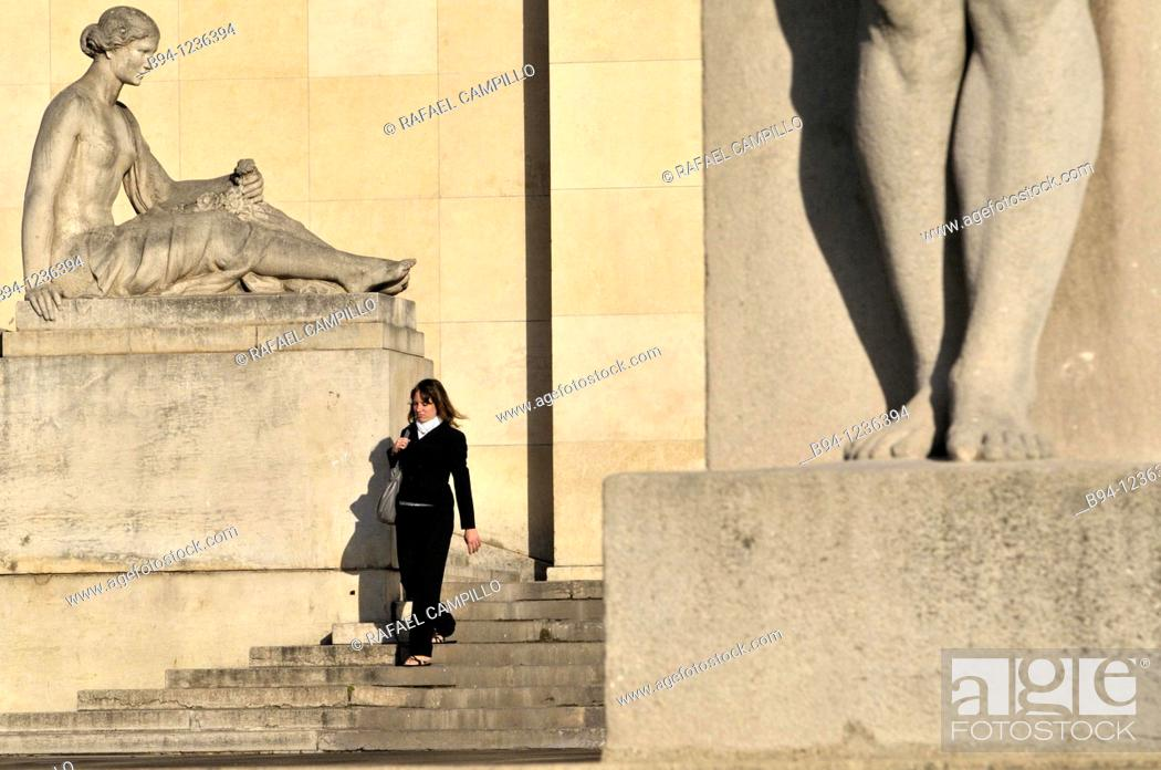 Stock Photo: Trocadero area. Chaillot Palace. Flore, sculpture by Louis Lejeune, 1937, and detail of legs of the Man, sculpture by Pierre Traverse. Paris, France.