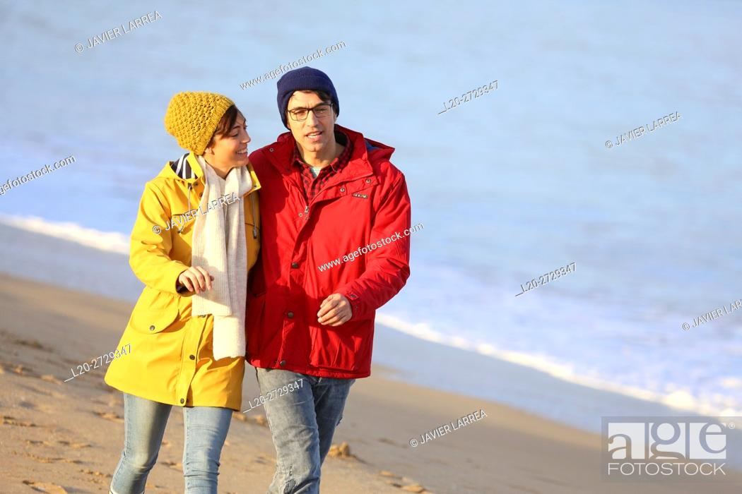 Stock Photo: France, French Basque Country, Hendaye, Couple on beach.