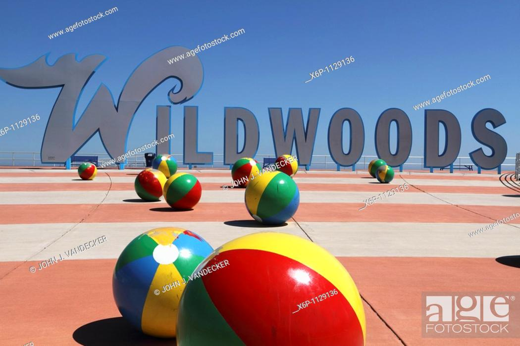 Stock Photo: Wildwoods Welcome Sign at the Boardwalk  The Wildwoods are comprised of three towns: Wildwood, Wildwood Crest and North Wildwood and are a popular summer resort.