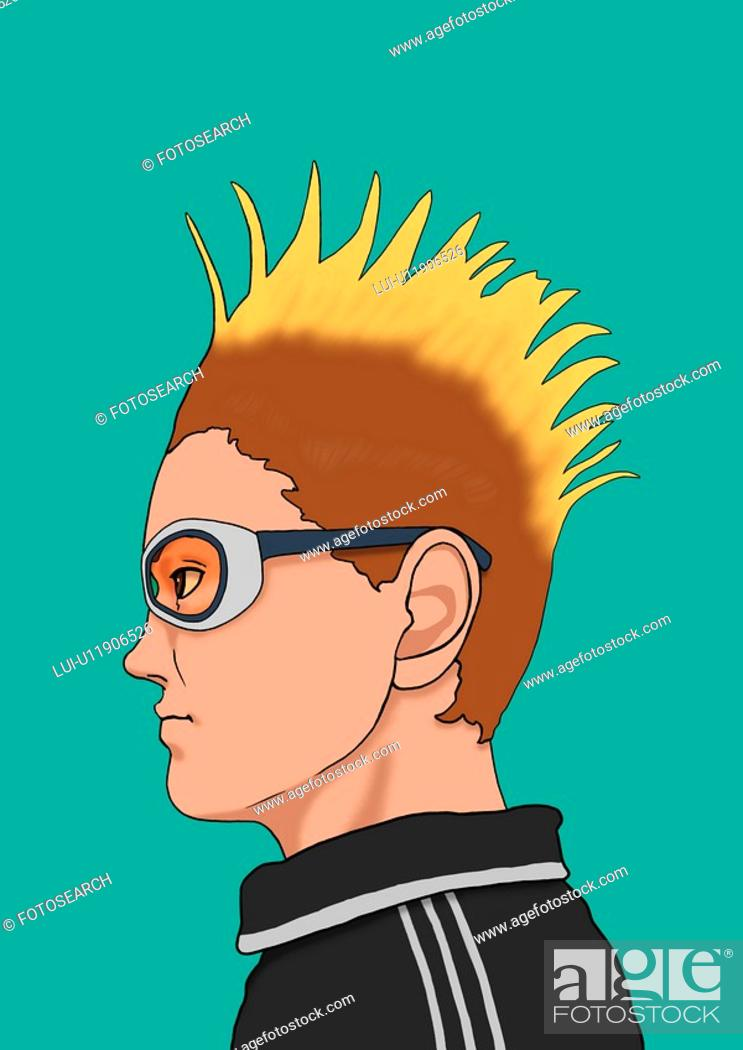 A Young Man With Mohican Hair Style Portrait Illustration Stock Photo Picture And Royalty Free Image Pic Lui U11906526 Agefotostock